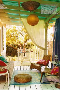 22 Porch, Gazebo and Backyard Patio Ideas Creating Beautiful Outdoor Rooms in Summer - Relaxing Summer Porches House Of Turquoise, Turquoise Room, Outdoor Rooms, Outdoor Living, Outdoor Curtains, Porch Curtains, Outdoor Patios, Outdoor Retreat, Outdoor Furniture
