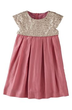 Mini Boden Cap Sleeve Sequin Cotton & Silk Dress (Little Girls & Big Girls) | Nordstrom