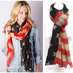 American Flag Scarf Vintage USA Flags Infinity Scarves
