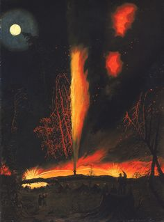 James Hamilton (1819-1878), Burning Oil Well at Night, near Rouseville, Pennsylvaniacirca (1861)
