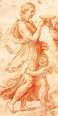Raphael - Detail from red chalk drawing - Mercury and Psyche (Merkur reicht Psyche die Schale mit dem Trank der Unsterblichkeit), 1517-18; Die Staatliche Graphische Sammlung München