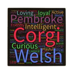 Welsh Corgi Word Cloud Wood Coaster
