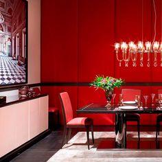 "Luxury Interior Design with ""Fendi Casa"" Luxury Dining Tables, Dining Table Design, Dining Set, Showroom, Red Kitchen Tables, Red Living Room Decor, Dining Room Corner, Dining Room Paint Colors, Esstisch Design"