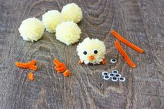 a completed pom pom chick