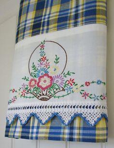 Recycled Vintage Pillowcase to Upcycled Tea Towel - Bountiful Basket - Homespun Home Decor