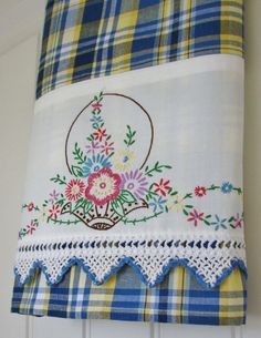 Recycled Vintage Pillowcase to Upcycled Tea Towel - Bountiful Basket - Homespun Home Decor