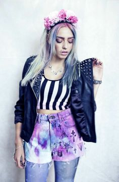 Ivory Jar London Highwaisted Rainbow Spiked Shorts Pastel Goth Nu Goth | eBay