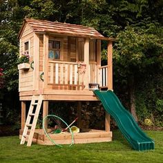 Childrens Playhouse - Little Cedar Playhouse - Outdoor Living Today Cedar Playhouse, Pallet Playhouse, Build A Playhouse, Playhouse Ideas, Modern Playhouse, Kids Playhouse With Slide, Kids Outside Playhouse, Playhouse Furniture, Girls Playhouse