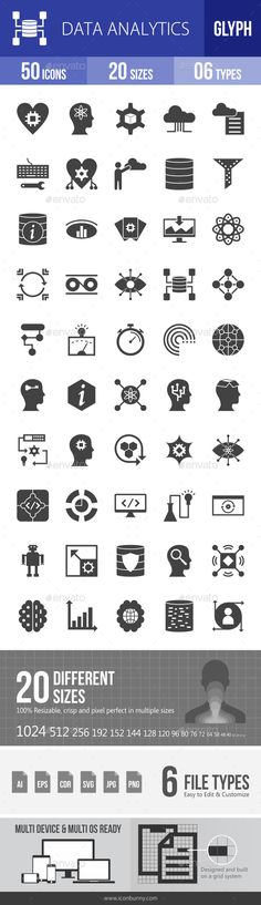 Data Analytics Glyph Icons