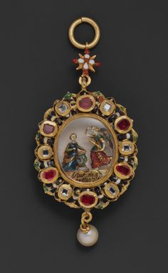"Pendant reliquary with depiction of the Annunciation, 17th century, Spanish, gold, enamel, rubies, crystal, pearl, rock crystal, 2 7/8 x 1 3/16 x 7/16 in. (7.3 x 3 x 1.1 cm); H. without ring: 2-5/8 in. (6.7 cm), The tiny enameled-gold figures surrounded by gems represent the Virgin, kneeling at her prie-dieu, and the angel of the Annunciation, with his words of greeting, ""AVE MARIA GRATIA PLENA"" (Hail, Mary, full of grace), inscribed on the relic case below."