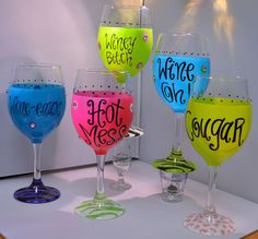 Girls Night Out Handpainted Wine Glasses — Party Cup Express