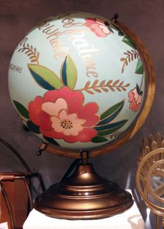 Pretty world globe with gold handwriting | Home Decor