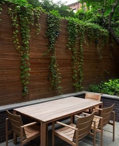 Horizontal privacy fence, minus the ivy.