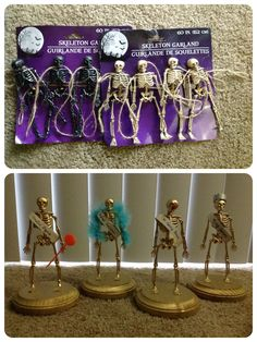 DIY skeleton trophies -- made from Dollar Store skeletons, wood plaques from Michael's, spray paint, glue, and sections of toilet paper rolls as the sashes! Made these for our soccer team's Halloween costume party... Dreadful Disguise (worst/least effort), Original Individual (most unique), Mr. Funny Bones (funniest), and King Costume (best)!