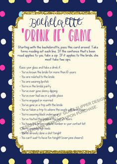 Printable bachelorette game/ bachelorette drinking game /