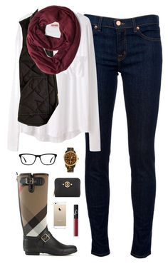 """""""burberry & burgundy"""" by classically-preppy ❤ liked on Polyvore featuring J Brand, Organic by John Patrick, J.Crew, Burberry, Michael Kors, Ray-Ban, Tory Burch and NARS Cosmetics"""