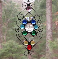 Stained Glass Suncatcher  Chakra  Iridescent Clear Moon face