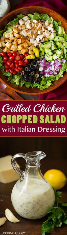 Grilled Chicken Chopped Salad with Italian Dressing - this dressing is SO GOOD!! Love it on this salad!