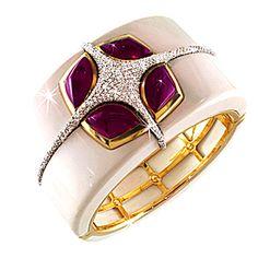 Valente Onyx Tourmaline Diamond Gold Bangle Bracelet | From a unique collection of vintage cuff bracelets at https://www.1stdibs.com/jewelry/bracelets/cuff-bracelets/