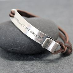 THE POINT,Leather Bracelet, Cuff, Men, id, name, initials,hand stamped,Latitude,Longitude,Sterling Silver,Location, customized, coordinates