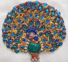 2 Grand Peacocks Hand Beaded Embroidered Appliques | eBay