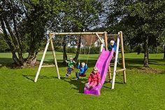 dein-spielplatz Doppelschaukel / Holzschaukel (kdi) mit Podest - JUSTIN Ø 8 / 10 cm - mit Rutsche (Ruschenfarbe: violett)