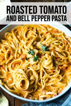 This Roasted Tomato and Bell Pepper Pasta is an easy weeknight pasta! You can whip up the red sauce in 30 minutes and ha Pepper Pasta Recipe, Roasted Red Pepper Pasta, Roasted Tomatoes, Pepper Recipes, Vegetarian Pasta Recipes, Veggie Recipes, Cooking Recipes, Healthy Recipes, Pasta Dishes