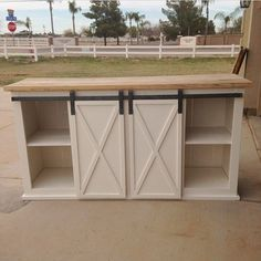 Ana White Build a Grandy Sliding Door Console Free and Easy DIY Project and Furniture Plans Diy Kitchen Island, Kitchen On A Budget, Kitchen Redo, New Kitchen, Kitchen Ideas, Kitchen Rustic, How To Build Kitchen Island, Floating Kitchen Island, Bathroom Island
