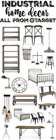 & Home Decor From Target Industrial Home Decor All From Target - a great source for amazing industrial furniture & home decor.Industrial Home Decor All From Target - a great source for amazing industrial furniture & home decor. Industrial Farmhouse Decor, Industrial Apartment, Industrial Interior Design, Vintage Industrial Furniture, Industrial Living, Industrial Interiors, Farmhouse Furniture, Home Decor Furniture, Farmhouse Style