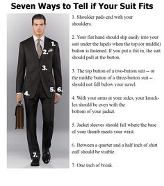 Great infographic about the 7 Ways to Tell if Your Suit Fits. Visit our website www.executive-image-consulting.com to get more information about your #professional #appearance and #professionalimage.