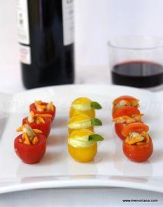 Tomates cherry rellenos para aperitivo