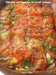 In acest Ghiveci de legume in vasul roman fiecare leguma se distuie sau se opareste inainte, apoi se aseaza in vas in straturi, fiecare cu un condiment specific. La cuptor toate aceste legum… Ratatouille, Vegetable Recipes, Vegan Recipes, Food And Drink, Vegetables, Ethnic Recipes, Roman, Veggies, Vegane Rezepte