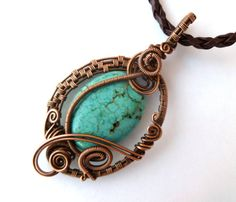 Wire wrapped pendant necklace /turquoise magnesite and copper Wire Wrapped jewelry by PillarOfSaltStudio