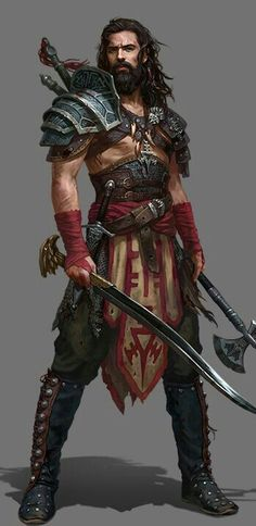 male warrior / barbarian curved sword and axe layered armour male RPG character inspiration for DnD / Pathfinder Fantasy Male, Fantasy Armor, Fantasy Art Warrior, Warrior Drawing, Warrior Concept Art, Dungeons And Dragons Characters, D D Characters, Fantasy Characters, Dungeons And Dragons Art