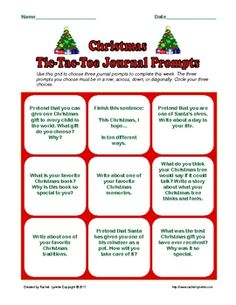 Free Christmas and Hanukkah TicTac Toe journal prompts.