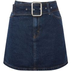 Topshop Moto Buckle Denim Mini Skirt (3,110 INR) ❤ liked on Polyvore featuring skirts, mini skirts, bottoms, indigo denim, short denim skirts, topshop skirts, short skirts, blue mini skirt and denim mini skirts