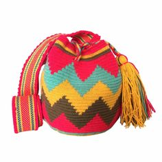 $52.00 Retail Price SMALL Single Thread Colombia Wayuu Mochila Bag | RETAIL + WHOLESALE | Handmade and Fair Trade Wayuu Mochila Bags LOMBIA & CO. | www.LombiaAndCo.com