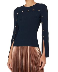 Exclusive for Intermix Carol Gold Button Rib Knit