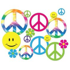 **42 PCS. RETRO 60'S PEACE SIGN / FLOWER CHILD CUTOUTS / DIE-CUTS** | eBay