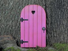 Fairy Door fairy garden miniature wood bright azalea pink with black hinges on Etsy, $16.95