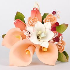 Medium Calla Lily Cake Topper - Peach