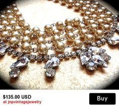 Chunky Pearl Necklace Rhinestone Wedding Necklace Bridal Statement Necklace Champagne Pearl Wedding Jewelry Vintage (Tom