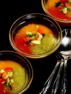 3 Tomato Gazpacho! Cant wait to make this