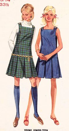 """SALE 1960s Misses A-Line Dress or Jumper Mod Womens Vintage Sewing Pattern Bust 33.5"""" from Sutlerssundries on Etsy. Saved to Vintage Sewing."""