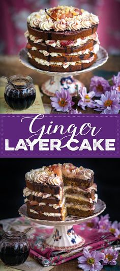 Embrace autumn with this gorgeously spiced ginger layer cake topped with wine-poached pears and cream cheese frosting. A show-stopping celebration cake perfect for Thanksgiving or Christmas. Delicious Cake Recipes, Best Cake Recipes, Tart Recipes, Cupcake Recipes, Yummy Cakes, Baking Recipes, Cupcake Cakes, Dessert Recipes, Cupcakes