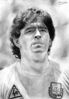 Best Football Players, Football Gif, Football Cards, Realistic Drawings, Art Drawings Sketches, Pencil Drawings, Maradona Tattoo, Maradona Football, Argentina Football