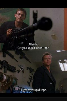 Norman Reedus n Sean Patrick Flanery in Boondock Saints Boondock Saints Quotes, The Boondock Saints, Sean Patrick Flanery, Boondocks, Spiritus, Saint Quotes, You Stupid, Stuff And Thangs, About Time Movie