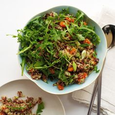 Red Rice and Quinoa Salad with Orange and Pistachios | In this fluffy salad, Yotam Ottolenghi blends South American quinoa with nutty Camargue red rice from southern France. The salad gets a fruity sweetness from orange juice and zest and is delicious alongside roast chicken.
