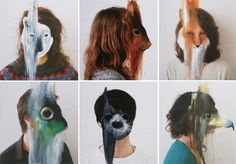 """""""Everyone wears a mask in society with friends or at work. That was my starting point. But how to show it?. My intention was to create osmosis between the two mediums, between the animal and the portrait."""" Charlotte Caron"""