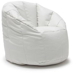 Comfort Research BeanSack Big Joe Milano Vegan Leather Bean Bag Chair ($127) ❤ liked on Polyvore featuring home, furniture, chairs, white, white bean bag, white bean bag chair, colored bean bags, faux leather furniture and round chair